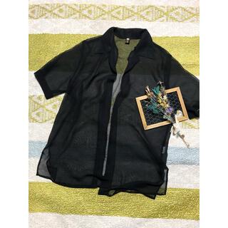 サンタモニカ(Santa Monica)のvintage シアー ブラック シャツ 羽織り(シャツ/ブラウス(半袖/袖なし))
