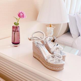 Maison de FLEUR - pearl bijou ribbon wedge sole sandal🍼🤍