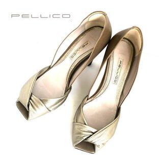 ペリーコ(PELLICO)のPELLICOペリーコ スクエアトゥゴールドパンプス 36(ハイヒール/パンプス)