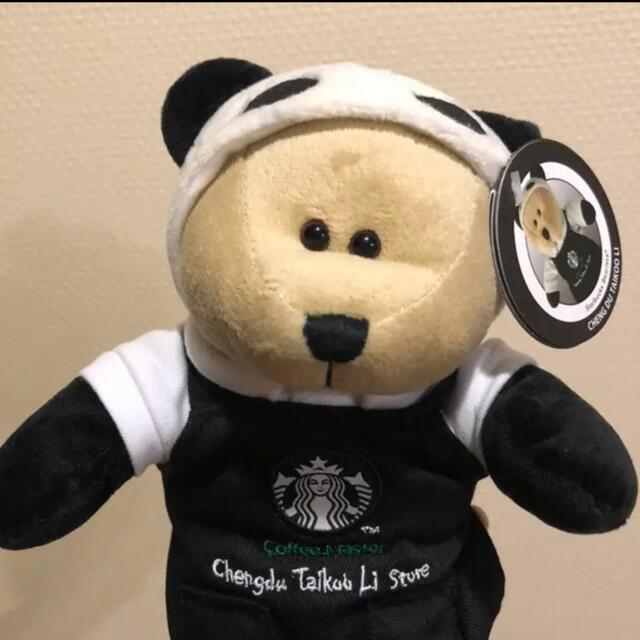 Starbucks Coffee(スターバックスコーヒー)のスターバックス 中国 成都 限定 ベアリスタ  パンダ ブラックエプロン エンタメ/ホビーのおもちゃ/ぬいぐるみ(ぬいぐるみ)の商品写真