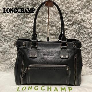 ロンシャン(LONGCHAMP)の【美品】ロンシャン トートバッグ ハンドバッグ オールレザー 黒(ハンドバッグ)