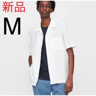 UNIQLO - 新品 ユニクロ リネンコットンオープンカラーシャツ(半袖)Mサイズ ホワイト