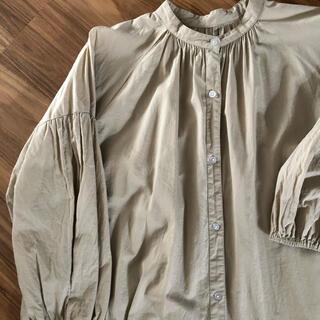 GU - バンドカラー  ワンピース シャツワンピ  ノーカラー  コットン 羽織