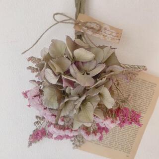 ドライフラワー 秋色紫陽花にピンクの小花の可愛いスワッグ(ドライフラワー)