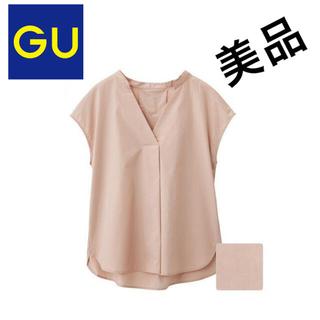 ジーユー(GU)の美品GUスキッパーシャツ S ピンク ブラウス ジーユー UNIQLO ユニクロ(シャツ/ブラウス(半袖/袖なし))