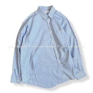 COMME des GARCONS HOMME PLUS - フランス製 コムデギャルソンSHIRT ねじれ変形ストライプ シャツ S ブルー