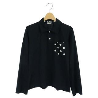 ブラックコムデギャルソン(BLACK COMME des GARCONS)のブラックコムデギャルソン ポロシャツ ポケット ドット柄 長袖 M 黒 /AO(ポロシャツ)