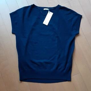 ジーユー(GU)の新品・未使用・タグ付きGUwomenオーバーサイズVネックセーター(半袖)(ニット/セーター)