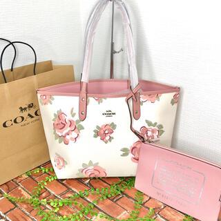 COACH - ≪COACH≫トートバッグ 大薔薇 ホワイト