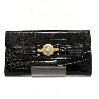 ジャンニヴェルサーチ(Gianni Versace)のジャンニヴェルサーチ 長財布 - 黒 レザー(財布)