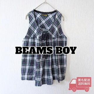 ビームスボーイ(BEAMS BOY)のBEAMS BOY 袖なしブラウス グリーンチェック ブラックウォッチ(シャツ/ブラウス(半袖/袖なし))