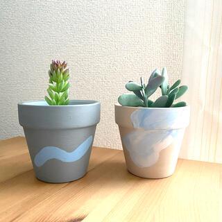 ハンドペイント 植木鉢 2個セット(プランター)