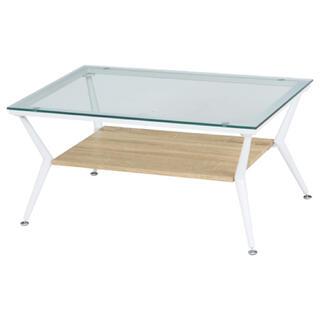 ガラスリビングテーブル クレア 幅80cm ナチュラル(ローテーブル)