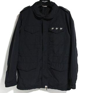 アベイシングエイプ(A BATHING APE)のエイプ ミリタリーシャツ ワークシャツ 長袖 スター スタッズ 黒 ブラック(シャツ)
