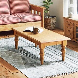 テーブル ローテーブル 幅105cm カントリー調 リビング 収納付き(ローテーブル)
