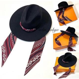 Hermes - HERMES 《バンダナ装飾》カレ ロングブリム ハット 帽子 E2355