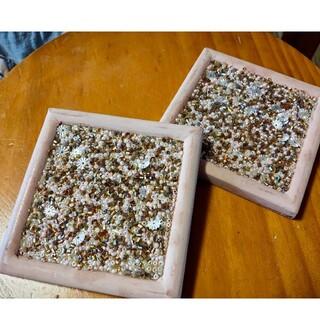 コースター 陶器 ビーズ 2枚組(テーブル用品)
