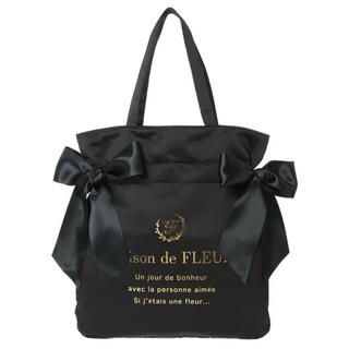 Maison de FLEUR - Maison de FLEUR ダブルリボントートバッグ 黒