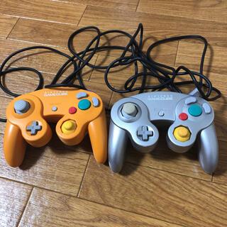 ニンテンドーゲームキューブ(ニンテンドーゲームキューブ)のゲームキューブ純正コントローラー オレンジ、シルバー(家庭用ゲーム機本体)