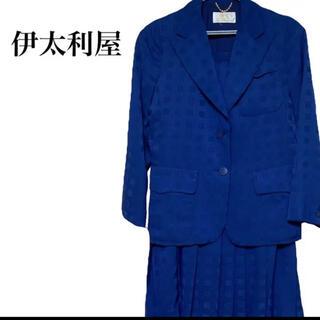 伊太利屋 - 【希少】伊太利屋 スカートスーツ スリーピース 総柄 ネイビー 紺色 M