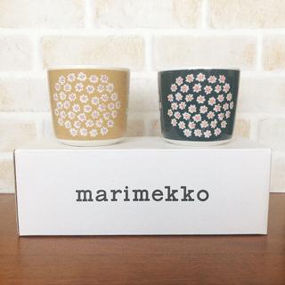 マリメッコ(marimekko)の新品廃盤 マリメッコ  プケッティ ラテマグ ベージュ ブルー セット(グラス/カップ)