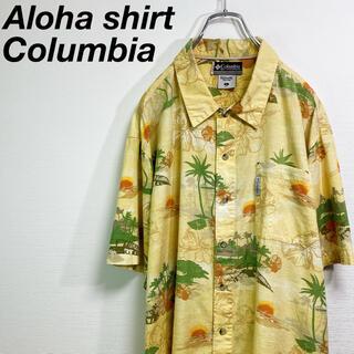 Columbia - 古着 コロンビア ハワイアン アロハシャツ 総柄 L イエロー アウトドア