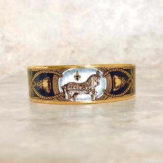 Hermes - 正規品 エルメス  バングル エマイユ 馬 ホース 七宝焼き ブレスレット 金