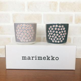 マリメッコ(marimekko)の新品廃盤 マリメッコ  プケッティ ラテマグ グレー ブルー セット(グラス/カップ)