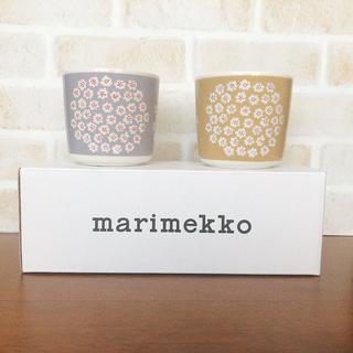 マリメッコ(marimekko)の新品廃盤 マリメッコ  プケッティ ラテマグ グレー ベージュ セット(グラス/カップ)