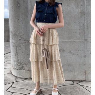 土日割引中‼️DAIS-Yドット柄3段フリルティアードスカート(ひざ丈スカート)