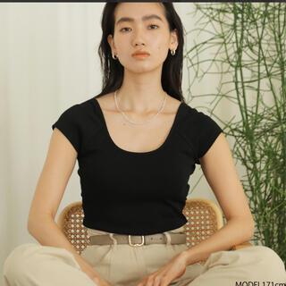 シールームリン(SeaRoomlynn)の値下げ美品☺︎シールームリンsearoomlynnパッドInバックUカットソー黒(Tシャツ(半袖/袖なし))