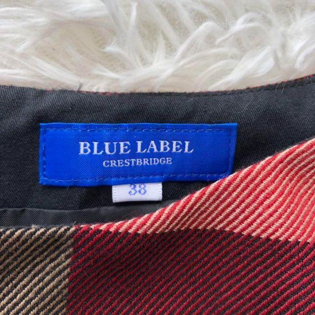 BURBERRY(バーバリー)の極美品✨ブルーレーベルクレストブリッジ ワンピース チェック リボン 38 黒 レディースのワンピース(ひざ丈ワンピース)の商品写真