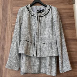 anyFAM - ノーカラージャケット ツイードジャケット スカート