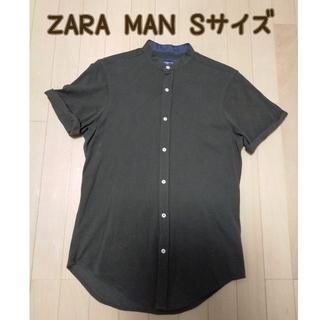 ZARA - ZARA MAN バンドカラーシャツ ブラウンカーキ Sサイズ