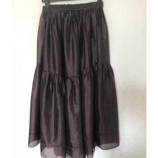 Drawer - ブラミンク blamink シルクギャザーロングスカート ブラウン