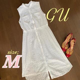 GU - 美品✨GU ジーユーコットンレースワンピース◆白◆M