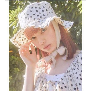 メリージェニー(merry jenny)のmerry jenny floral ribbon hat 未使用(ハット)