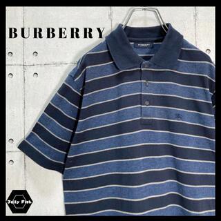BURBERRY - 【レアカラー】BURBERRY/バーバリー 半袖 ポロシャツ 刺繍ロゴ ボーダー