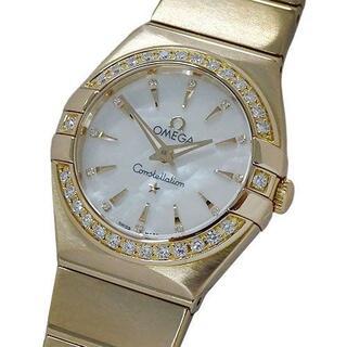 オメガ(OMEGA)のオメガ コンステレーションミニ ダイヤベゼル 12Pダイヤ シェル 金無垢(腕時計)