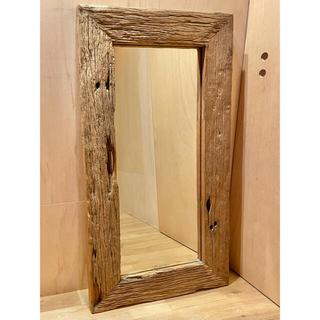 ウォール ミラー 鏡 姿見 枕木 110 × 60 古材 木製 玄関 全身鏡
