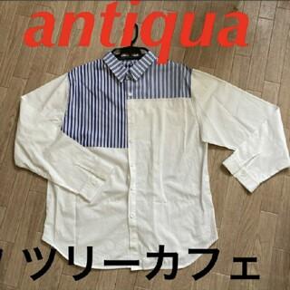 antiqua - antiqua tree cafe☆白×ストライプ XLサイズ