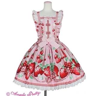 アンジェリックプリティー(Angelic Pretty)の摘みたていちごエプロン風ジャンパースカート ピンク(ひざ丈スカート)