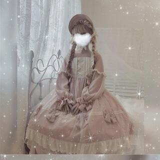 lolita 洋服 可愛い 萌え ワンピース ブルー ピンク レディース(衣装一式)