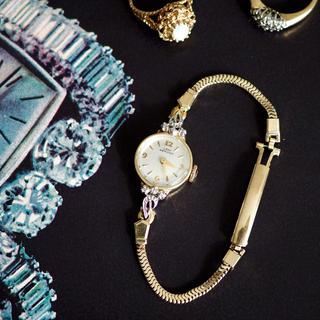 オメガ(OMEGA)のOH済★美品 ハミルトン 金無垢 ダイヤ ベルト2本★agete ドゥロワー (腕時計)
