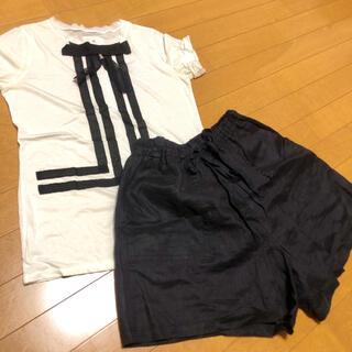 ランバンオンブルー(LANVIN en Bleu)のLANVIN en Bleu  リボン カットソー ショートパンツセット M(Tシャツ(半袖/袖なし))