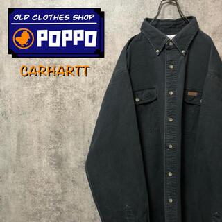 carhartt - カーハート☆レザーロゴ入りフラップ付きダブルポケットビッグワークシャツ