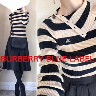 BURBERRY BLUE LABEL - BURBERRY バーバリーブルーレーベル コットン リブ タートル ニット M