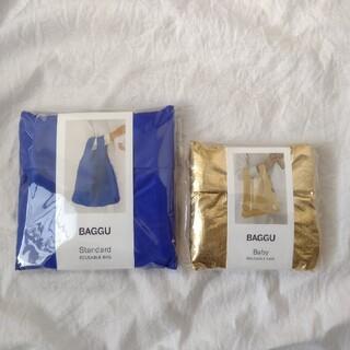 ドゥーズィエムクラス(DEUXIEME CLASSE)のBAGGU baguu バグー エコバッグ コバルトブルー ゴールド 2個セット(エコバッグ)