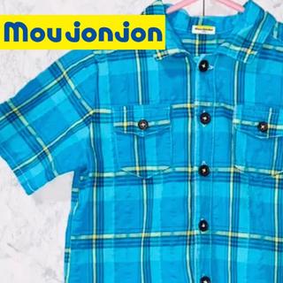ムージョンジョン(mou jon jon)のmou Jonjon ネルシャツ チェックシャツ ブルー 100(Tシャツ/カットソー)