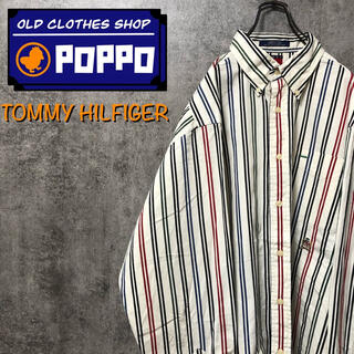 TOMMY HILFIGER - トミーヒルフィガー☆オールド刺繍ロゴマルチダブルストライプシャツ 90s